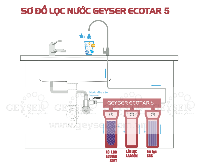Sơ đồ lọc nước của máy Geyser Ecotar 5